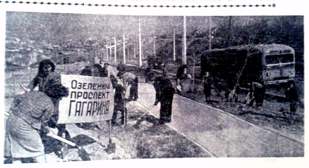 Севастопольцы озеленяют проспект Гагарина 16 апреля 1961 года ГАГС, СИФ, «Слава Севастополя». – 1961 г. – 18 апреля.- № 77. – Стр. 1