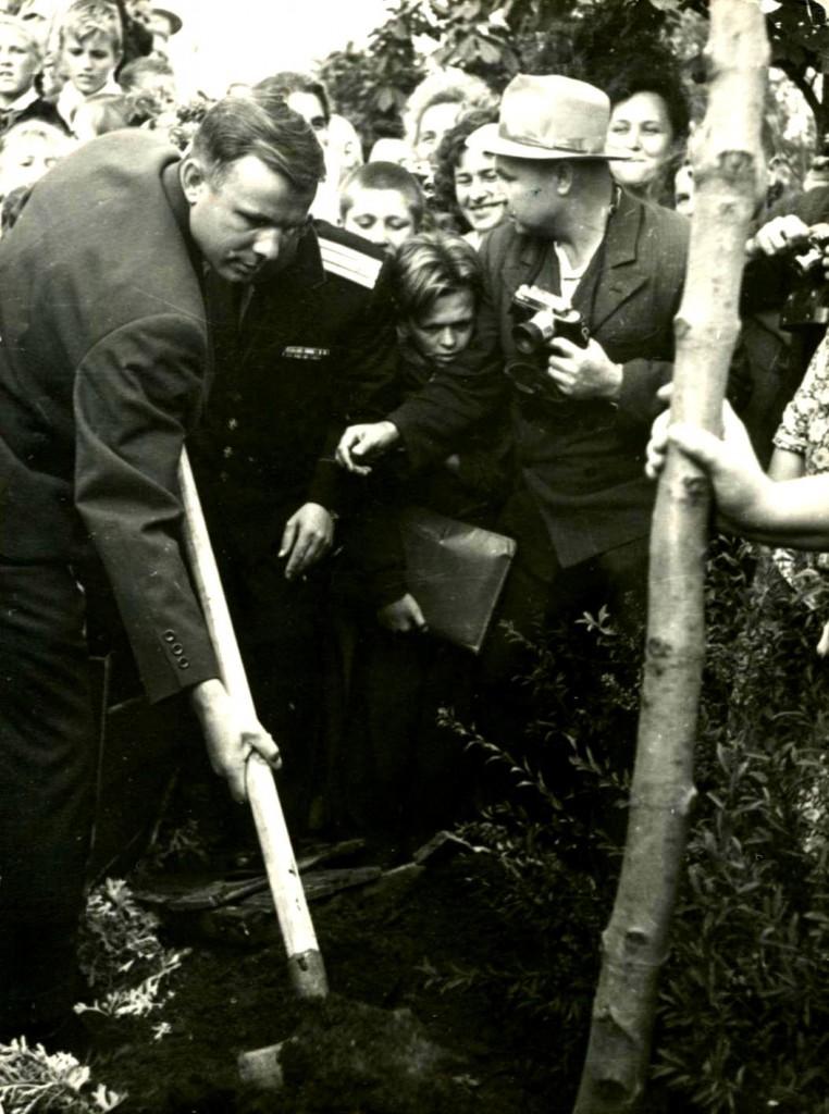 Летчик-космонавт Гагарин Ю.А. сажает дерево на Малаховом кургане. 21 сентября 1961 года ГАГС, фонд фотодокументов, ед.хр. 6487
