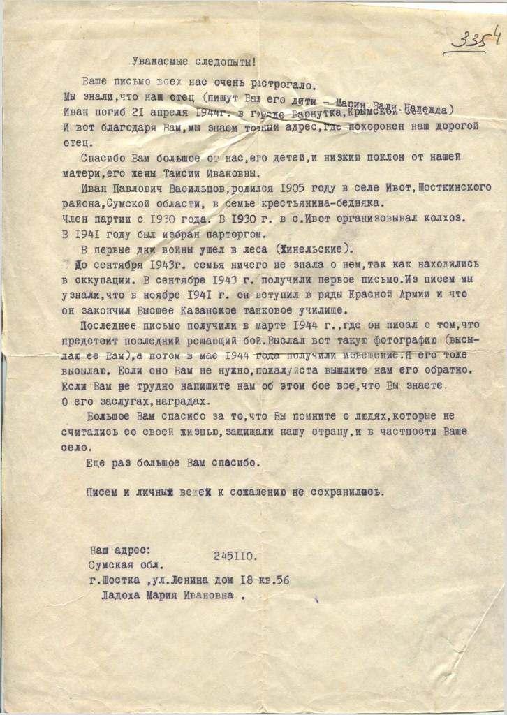 Письмо руководителю поисковой группы
